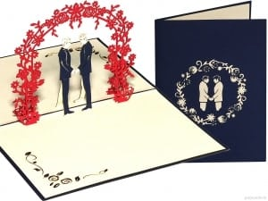 Popcards.nl pop up card gay wedding gay wedding card men get married