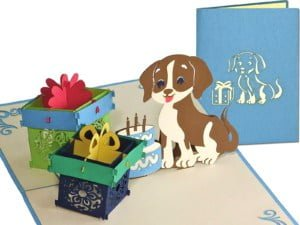 Popcards.nl pop up card dog with gifts
