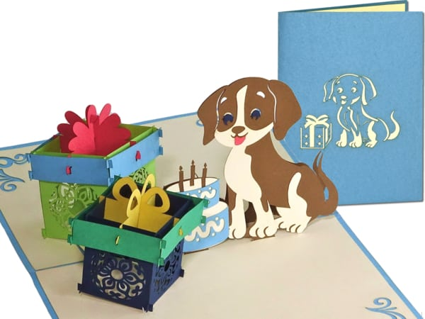 Popcards.nl pop up card dog con regali