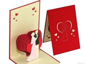 Popcards.nl pop up card carte de mariage coeur de mariage