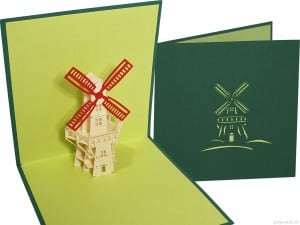 Popcards.nl pop up card Dutch windmill windmill Holland Netherlands green
