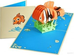 Popcards.nl carte pop up poisson nemo