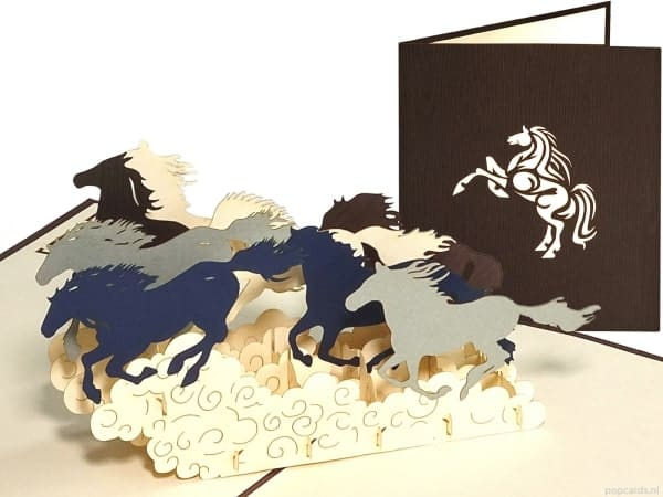 Popcards.nl pop up kaart paarden in galop
