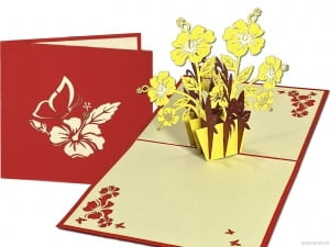 Popcards.nl pop up card yellow flowers purple vase yellow vase