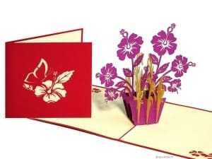 Popcards.nl pop up card purple flowers