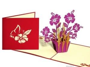 Popcards.nl pop up card fleurs violettes
