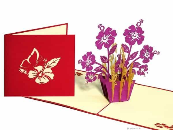Popcards.nl pop up kaart paarse bloemen
