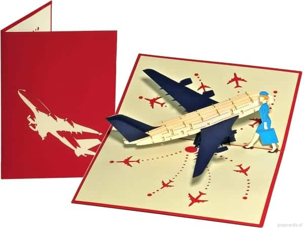 Popcards.nl pop up card stewardess plane