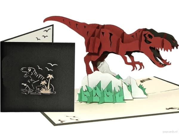 Popcards.nl pop up kaart t-rex dinosaurus
