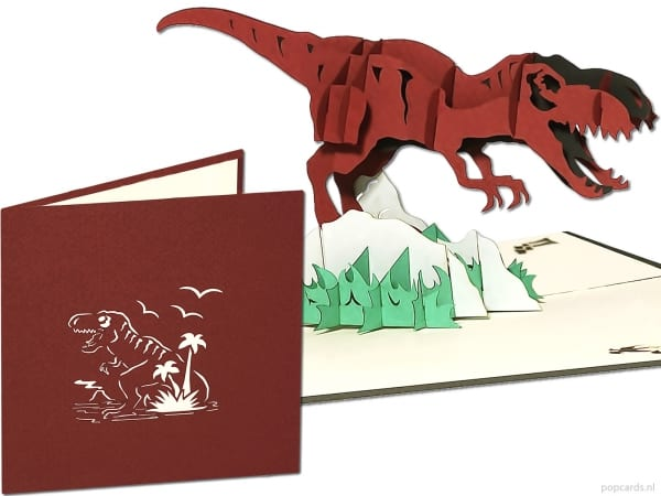Popcards.nl felbukkanó kártya t-rex dinoszaurusz tyrannosaurus jurassic park