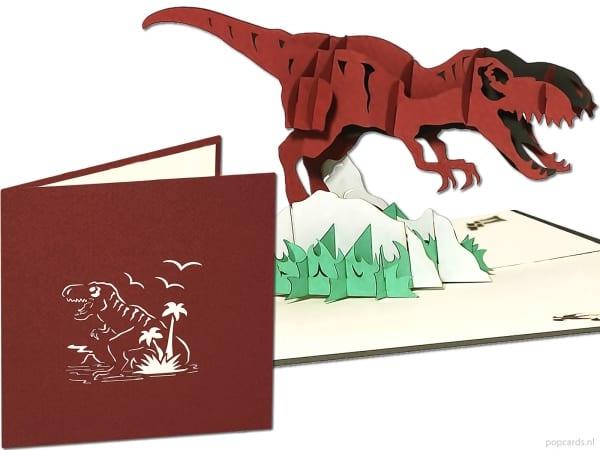 Popcards.nl wyskakująca karta t-rex dinozaur tyranozaur park jurajski