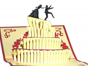 Popcards.nl pop up card wedding cake wedding card
