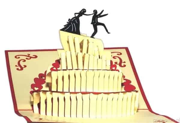 Popcards.nl pop up kaart trouwtaart trouwkaart