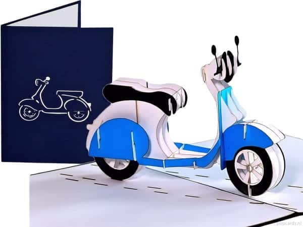 Popcards.nl pop up kaart vespa scooter