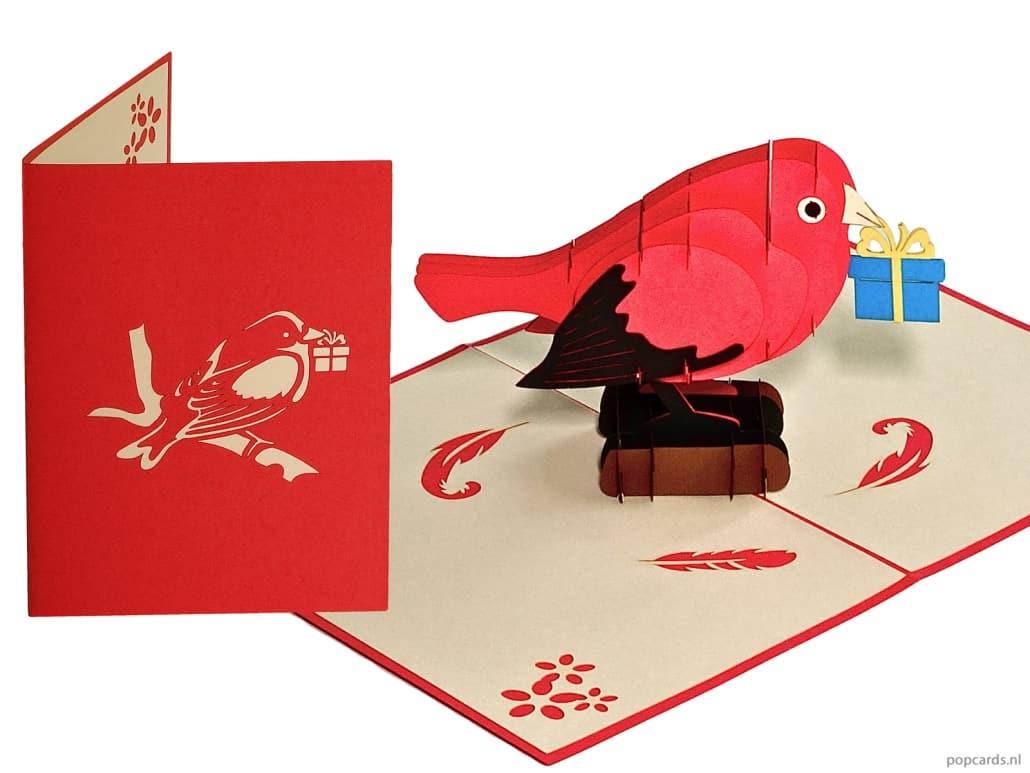 Popcards.nl Vogel met cadeautje