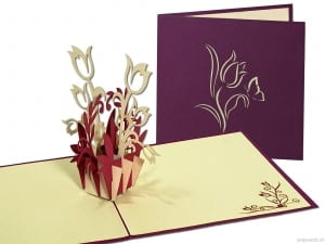 Popcards.nl pop up card purple flowers comfort card carte de voeux
