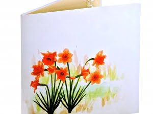 Daffodils with watercolor 2