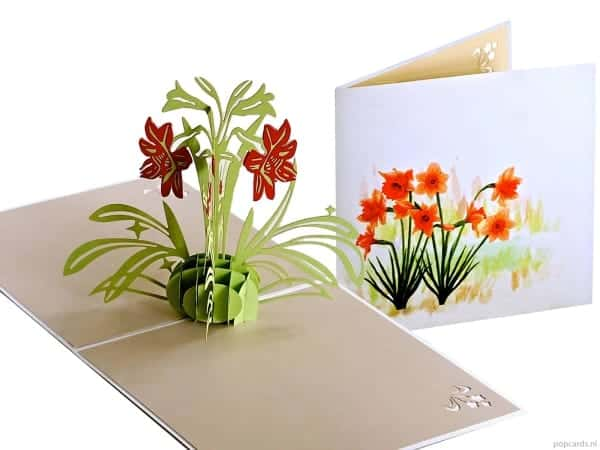 Popcards.nl pop up kaart Narcissen met aquarel