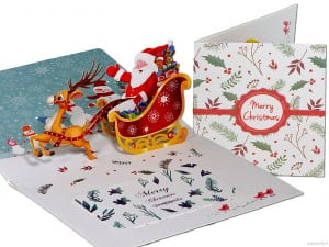 Popcards.nl Santa Claus with horse sleigh and reindeer