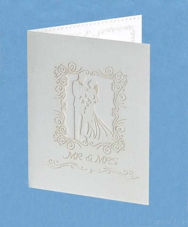 Popcards.nl Grote Romantische witte Trouwkaart huwelijk trouwen jubileum huwelijkskaart