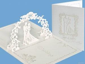 Popcards.nl Stort romantisk hvidt bryllupskort bryllup gift bryllupsdag bryllupskort