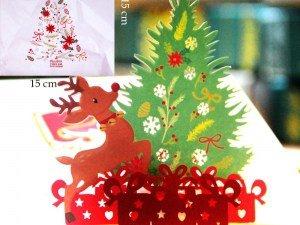 Popcards.nl Choinka i Święty Mikołaj z jeleniem