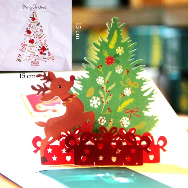 Popcards.nl Christmas tree and Santa Claus with deer