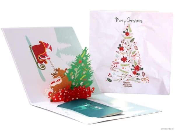 Popcards.nl Christmas tree and Santa Claus with a deer Christmas card