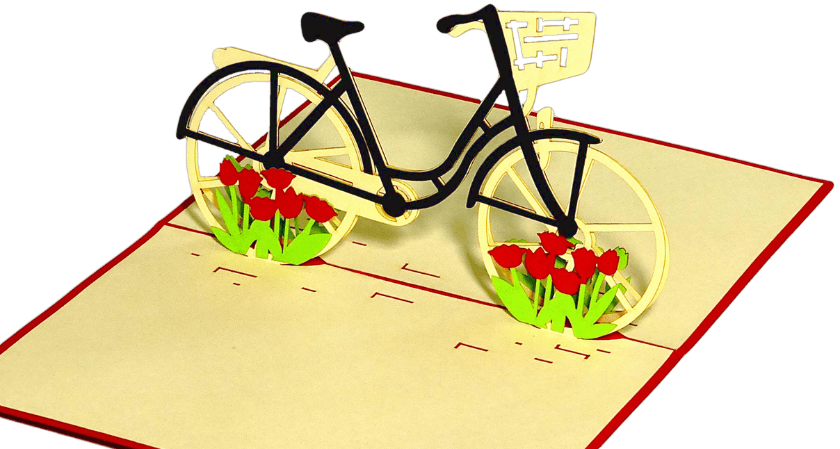 Popcards.nl pop up card bicycle with flowers