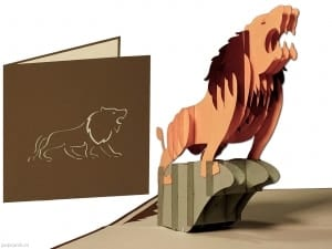 Popcards.nl Scheda pop-up Lion