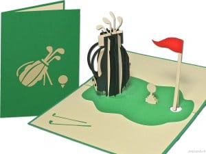 Popcards pop-up card golf golf sport birdies tarjeta de felicitación