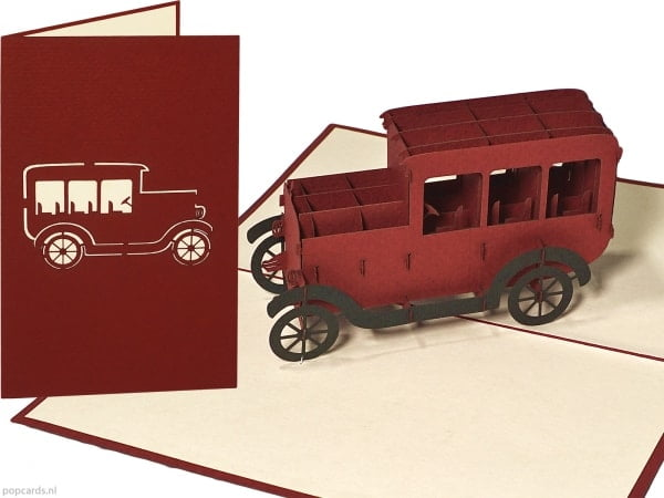 Popcards pop-up card classic car T-ford classic car greeting card
