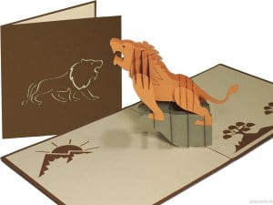 Popcards pop-up card lion lions carte de voeux