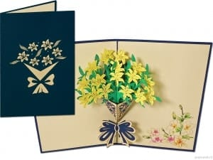 Popcards pop-up card daffodils flowers greeting card