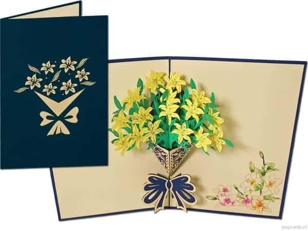 Popcards pop-up card jonquilles fleurs carte de voeux jonquille