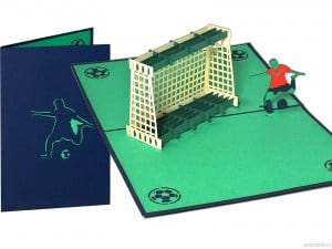 Popcards carte pop-up football soccer joueur but football compétition ajax feyenoord psv objectif carte de voeux