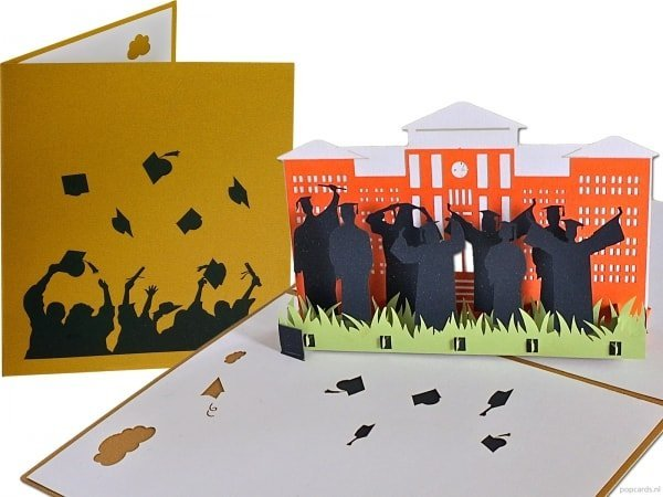 Popcards.nl Successful diploma graduated pop-up greeting card 3d card
