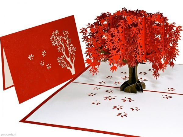 Popcards.nl pop up card sakura cherry tree tree autumn blossom cherry blossom