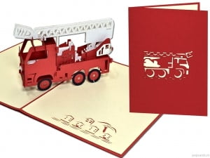 Popcards.nl Autopompa antincendio autopompa auto pompiere pop-up greeting card