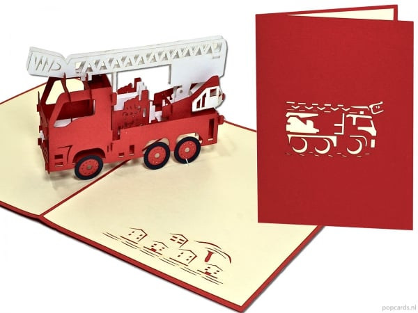 Carte de voeux pop-up Popcards.nl Fire Engine Fire Engine Car Fire Fighter