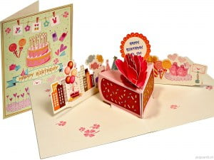 Cartoline pop-up card cake cake birthday cake greeting card birthday card