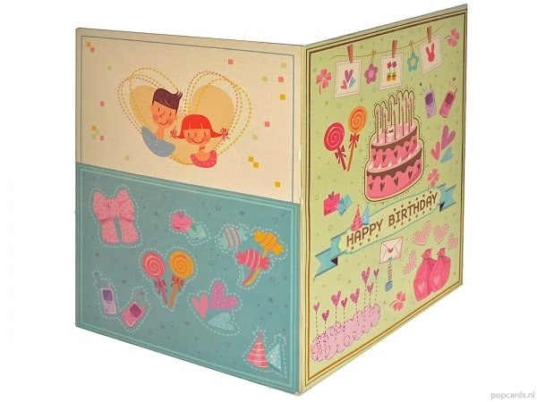 Popcards pop-up card cake cake birthday cake greeting card