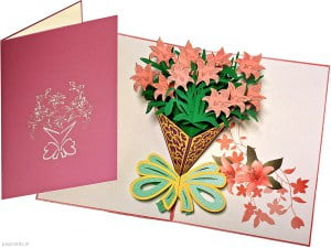 Popcards pop-up kort lilja bukett blommor kort kort gratulationskort