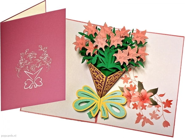 Popcards pop-up card lily bouquet flowers flower card greeting card