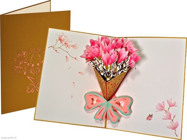 Popcards pop-up card magnolia bouquet of flowers floral card greeting card