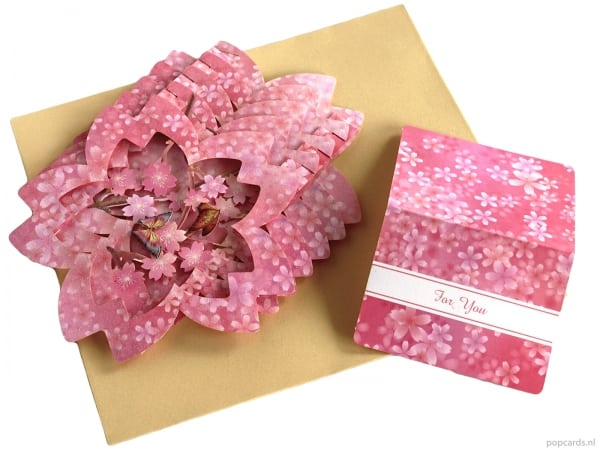Popcards pop-up card violet rose sakura star carte de voeux