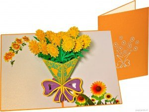 Popcards pop-up card sunflowers bouquet greeting card
