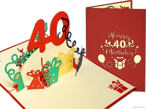 Popcards.nl pop-up card greeting card 40 years birthday card birthday 40 years anniversary