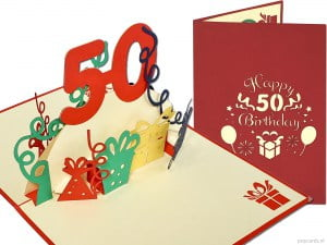 Popcards.nl pop-up card greeting card 50 years birthday card birthday 50 years anniversary