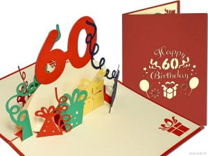 Popcards.nl pop-up card greeting card 60 years birthday card birthday 60 years anniversary